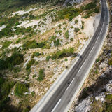 The mountain road in Montenegro. Top view Royalty Free Stock Photography