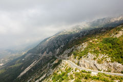The mountain road in Montenegro. Top view Royalty Free Stock Photos