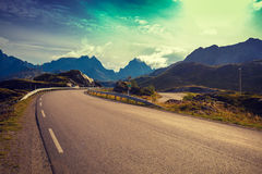 Mountain road. The beautiful nature of Norway. Lofoten Islands Royalty Free Stock Images