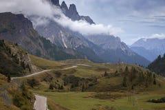 Mountain road in the mountains Dolomites stock photo