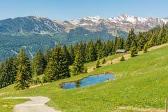 Mountain road nature panoramic landscape. Ridanna Valley, South Tyrol, Trentino Alto Adige, Italy. Mountain road nature panoramic landscape. Ridanna Valley stock photography