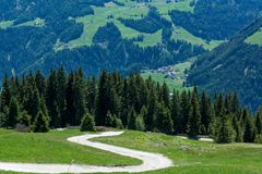 Mountain road nature panoramic landscape. Ridanna Valley, South Tyrol, Trentino Alto Adige, Italy. Mountain road nature panoramic landscape. Ridanna Valley stock image