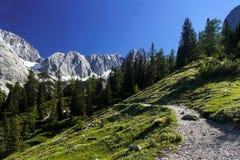 Mountain road near austrian village Ehrwald. Mountain hiking road  near austrian village Ehrwald Stock Images