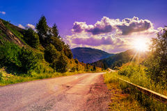 Mountain road near the coniferous forest with cloudy morning sky Stock Photos