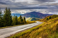 Mountain road near the coniferous forest with cloudy sky. Empty asphalt mountain road with near the coniferous forest with cloudy sky in morning light Royalty Free Stock Photos