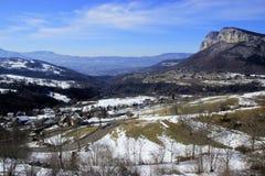 Mountain road near Grenoble. Winter. Sun and snow Royalty Free Stock Photo
