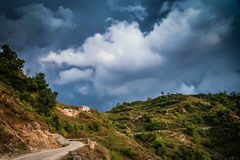 Mountain road in Nepal Stock Images