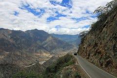 Mountain road with nice panorama trough northern Peru Royalty Free Stock Photo