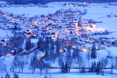 Mountain road at night (2). View over the Kanzelkehre-Road near Hindelang at night Stock Images