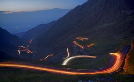 Mountain road in night. Famous mountain road in night, Romanian Carpathians, Transfagarasan Stock Photos