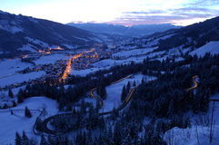 Mountain road at night. View over the Kanzelkehre-Road near Hindelang at night Stock Photography
