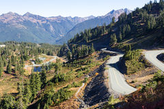 Mountain road in North Cascades national park Royalty Free Stock Photos