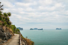 Mountain road by the ocean in Cat Ba, Ha long Bay, Vietnam, South East Asia. Royalty Free Stock Photos