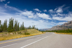 Mountain Road with Painted Double Yellow Line. Mountain Road (Yellowhead Highway) with Painted Double Yellow Line. Photo is taken in Jasper National Park Royalty Free Stock Image