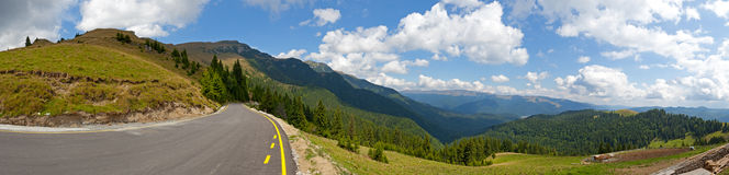 Mountain road panorama Royalty Free Stock Photo