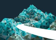 Mountain road polygon background, vector design Stock Photo