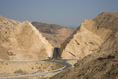 Mountain road by Qantab. Oman Stock Photo