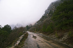 Mountain road in the rain and fog. Royalty Free Stock Image