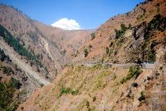 Mountain road, Ramsu, Jammu, India. Beautiful mountain range with peaks and valleys in Jammu, India Stock Image