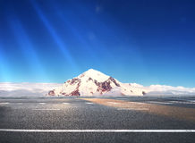 Mountain road. Road round Summit in  Mountains Royalty Free Stock Image
