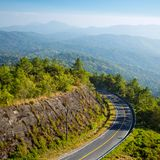 Mountain road and a scenic view Stock Image