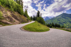 Mountain road. Serpentine mountain road in the Austrian Alps Royalty Free Stock Photo