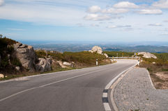 Mountain road  in the Serra de Monchique in  Portugal. Mountain road at the highest point of the Serra de Monchique or the mountains of Monchique in Portugal Stock Image