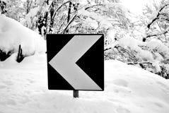 Mountain road snow Royalty Free Stock Photo