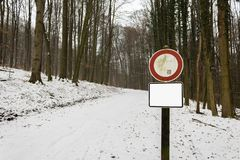 Mountain road snow ice warning danger sign blank square sign winter royalty free stock photo