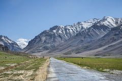 Mountain road among snow peaks royalty free stock photography