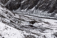 Mountain road snow winter curve Stock Photography