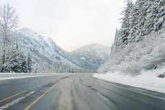 Mountain road through Snow in winter ,Washington Royalty Free Stock Photos
