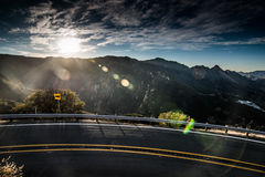 Mountain Road Sunset. Located on Piuma Road east of Malibu Canyon, the Piuma Overlook provides spectacular views of Monte Nido, Saddle Peak, and Malibu Canyon Stock Images