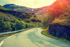 Mountain road at sunset. The beautiful nature of Norway royalty free stock photo
