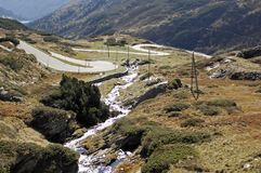 Mountain road, swiss alps Royalty Free Stock Photos