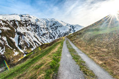 Mountain road in Swiss Alps Royalty Free Stock Photos