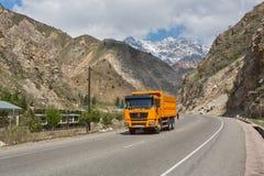 Mountain road of Tajikistan stock photo
