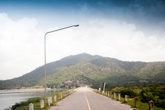 Mountain road in Thailand countryside. And river side stock image