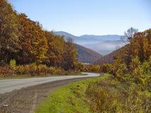 Mountain road to autumn wood Stock Photos