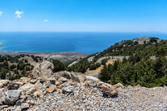 Mountain road to Chora Sfakion at sothern coast of Crete island, Greece Royalty Free Stock Photography