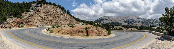 Mountain road to Chora Sfakion town at southern part of Crete island, Greece Royalty Free Stock Photos