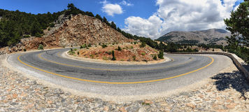 Mountain road to Chora Sfakion town at southern part of Crete island, Greece Stock Images