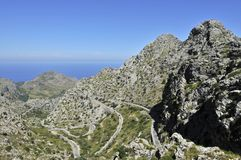 Mountain Road to Sa Calobra. The view on the mountain road to Sa Calobra trough Tramuntana mountains in Mallorca Stock Photos