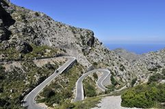 Mountain Road to Sa Calobra. The view on the mountain road to Sa Calobra trough Tramuntana mountains in Mallorca Royalty Free Stock Photo