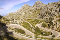 Mountain road to Sa Calobra. Mallorca, Spain Royalty Free Stock Image