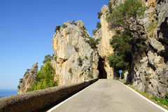 Mountain road to Sa Calobra. Mallorca, Spain Royalty Free Stock Photography