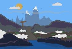 Mountain. Road to the snow mountain Royalty Free Stock Image