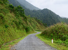 Mountain road to Y Ty town in Sapa, Vietnam.  Royalty Free Stock Photos