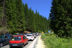 Mountain road traffic jam Royalty Free Stock Photo