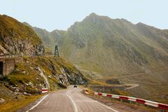 The mountain road of Transfagarasan. Transylvania, Carpathian mountains, highway, landscape, military royalty free stock photography